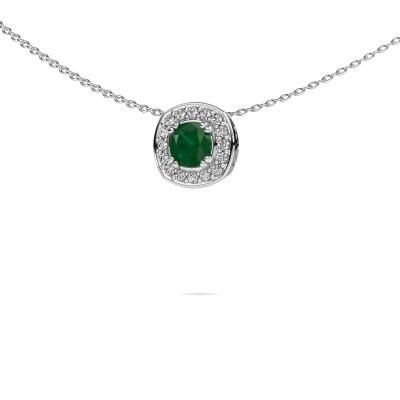 Foto van Ketting Carolina 925 zilver smaragd 5 mm