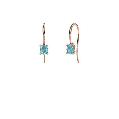 Picture of Drop earrings Cleo 375 rose gold blue topaz 6x4 mm