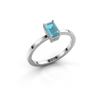 Foto van Verlovingsring Denita 1 585 witgoud blauw topaas 6x4 mm