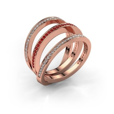Foto van Ring Jaqueline 375 rosé goud robijn 1 mm
