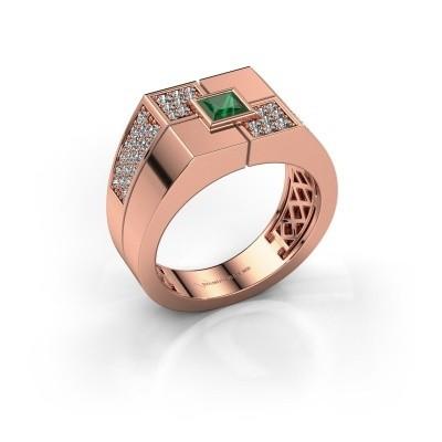 Foto van Heren ring Rogier 585 rosé goud smaragd 4 mm