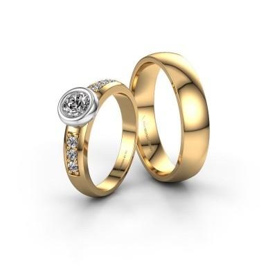 Foto van Trouwringen set WHR0008LM25AP ±5x1.7 mm 14 karaat goud diamant 0.25 crt