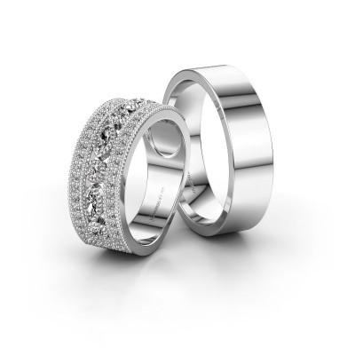 Foto van Trouwringen set WHR0401LM16AP ±8x2 mm 14 karaat witgoud diamant 0.10 crt