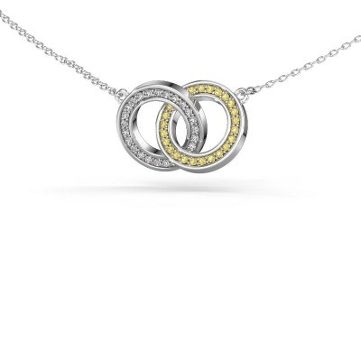 Picture of Necklace Circles 2 585 white gold yellow sapphire 1 mm