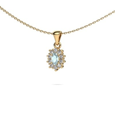 Picture of Necklace Leesa 375 gold aquamarine 6x4 mm
