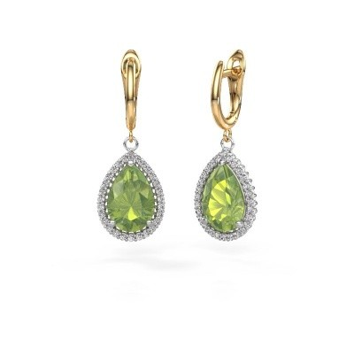 Picture of Drop earrings Hana 1 585 white gold peridot 12x8 mm