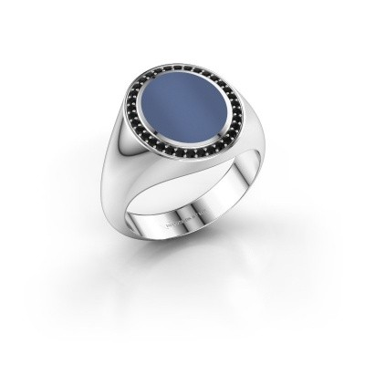 Foto van Zegelring Adam 2 925 zilver blauw lagensteen 12x10 mm