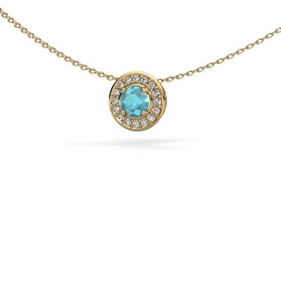 Picture of Pendant Agaat 585 gold blue topaz 5 mm