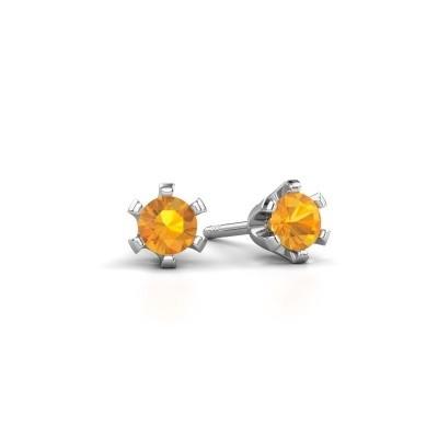 Picture of Stud earrings Shana 585 white gold citrin 4 mm