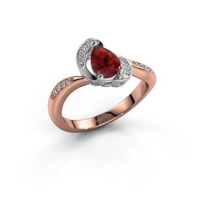 Foto van Ring Jonelle 585 rosé goud robijn 7x5 mm