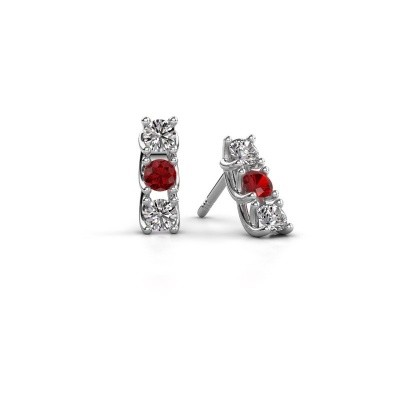 Picture of Earrings Fenna 925 silver ruby 3 mm