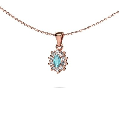 Picture of Necklace Leesa 375 rose gold blue topaz 6x4 mm