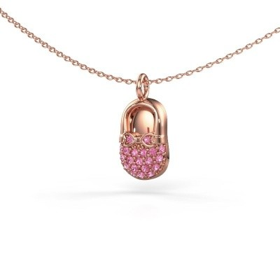 Picture of Pendant Babyshoe 375 rose gold pink sapphire 1.3 mm