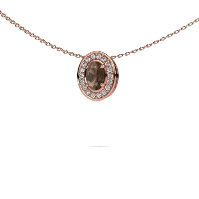 Picture of Necklace Madelon 375 rose gold smokey quartz 6x4 mm