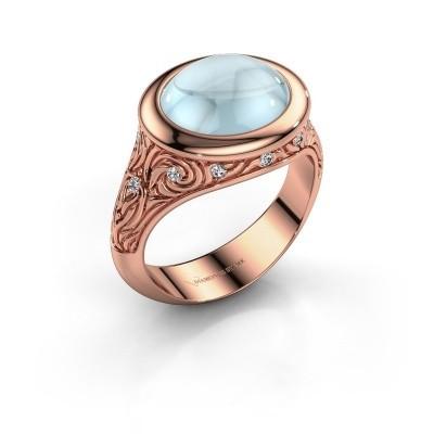 Foto van Ring Natacha 375 rosé goud aquamarijn 12x10 mm