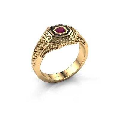 Foto van Heren ring Dion 585 goud rhodoliet 4 mm