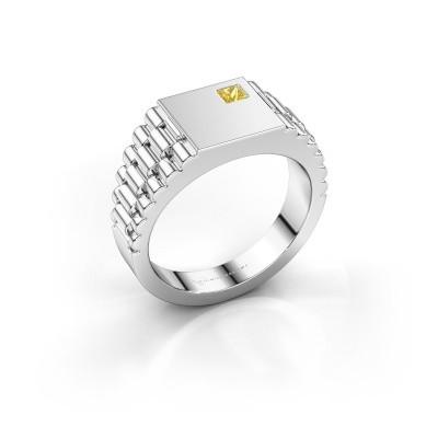 Foto van Rolex stijl ring Pelle 585 witgoud gele saffier 3 mm