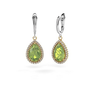 Picture of Drop earrings Hana 2 585 gold peridot 12x8 mm