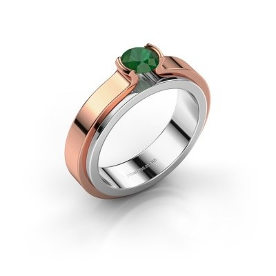 Verlobungsring Jacinda 585 Weissgold Smaragd 4.7 mm