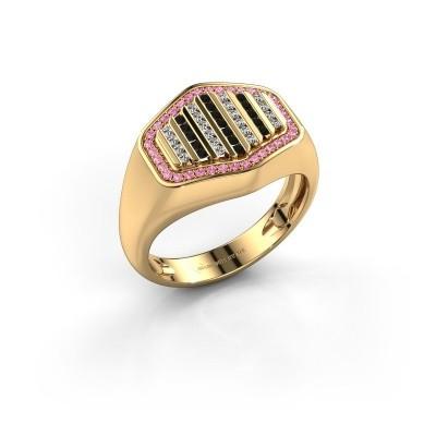 Foto van Heren ring Beau 750 goud roze saffier 1 mm