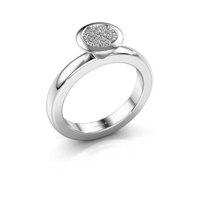 Stapelring Rani 585 witgoud diamant 0.098 crt