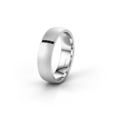 Trouwring WH0154L25XM 585 witgoud zwarte diamant ±5x1.4 mm