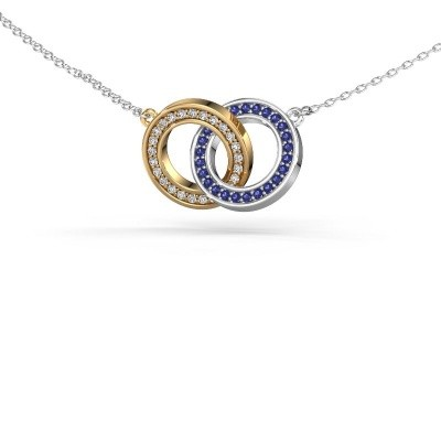 Picture of Necklace Circles 2 585 gold sapphire 1 mm