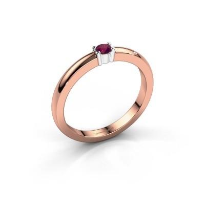 Foto van Promise ring Yasmin 1 585 rosé goud rhodoliet 2.7 mm