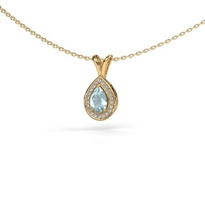 Picture of Necklace Ginger 585 gold aquamarine 6x4 mm