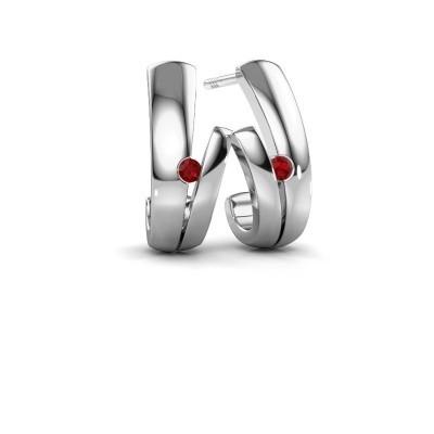 Picture of Earrings Shela 925 silver ruby 2 mm