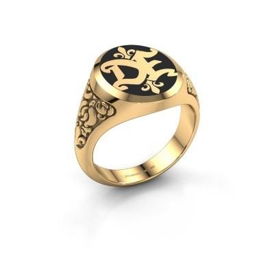 Bild von Monogram Ring Brian Emaille 585 Gold Schwartz Emaille