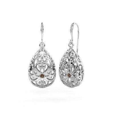 Picture of Drop earrings Idalia 2 585 white gold smokey quartz 2 mm