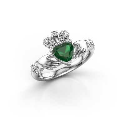 Foto van Ring Claddagh 2 950 platina smaragd 6 mm