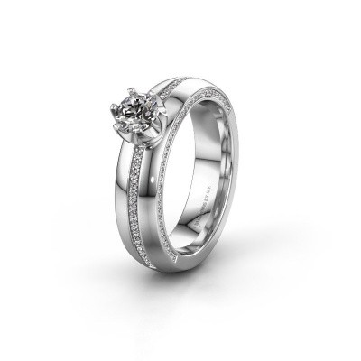 Huwelijksring WH0416L25E 585 witgoud diamant ±5x2.6 mm