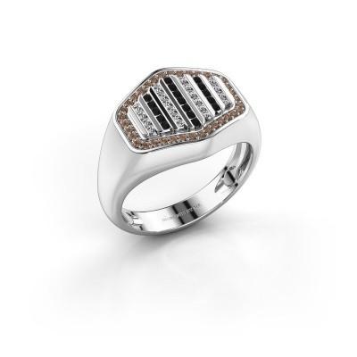 Foto van Heren ring Beau 950 platina bruine diamant 0.408 crt
