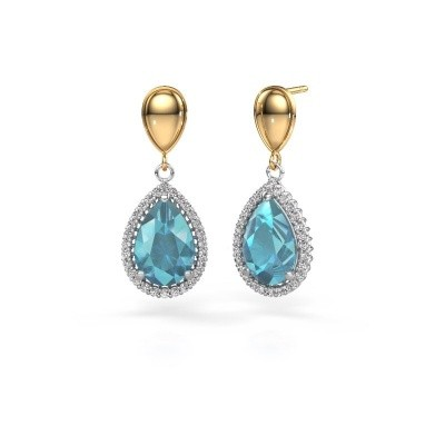 Picture of Drop earrings Cheree 1 585 white gold blue topaz 12x8 mm