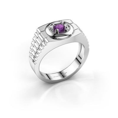 Foto van Rolex stijl ring Edward 950 platina amethist 4.7 mm