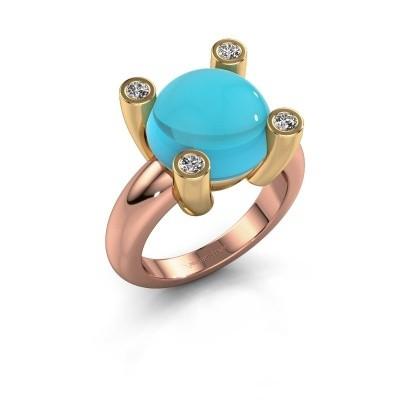 Foto van Ring Janice RND 585 rosé goud blauw topaas 12 mm