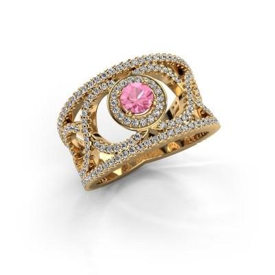 Foto van Ring Regina 585 goud roze saffier 4.2 mm