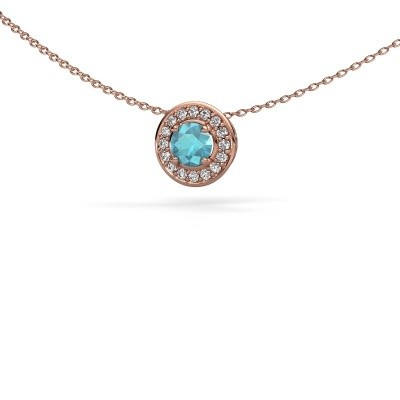 Picture of Pendant Agaat 375 rose gold blue topaz 5 mm