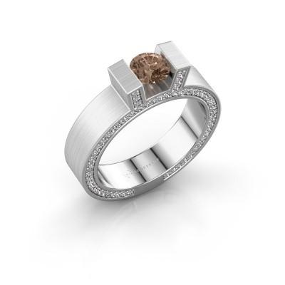 Foto van Ring Leena 2 950 platina bruine diamant 1.08 crt