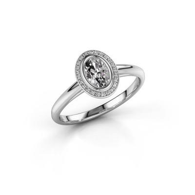 Foto van Verlovingsring Noud 1 OVL 585 witgoud diamant 0.56 crt