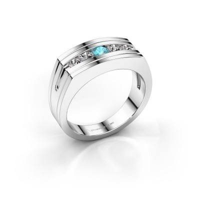 Foto van Heren ring Huub 585 witgoud blauw topaas 3.7 mm