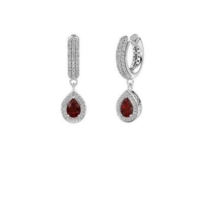 Picture of Drop earrings Barbar 2 950 platinum garnet 6x4 mm