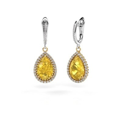 Picture of Drop earrings Hana 2 585 gold yellow sapphire 12x8 mm