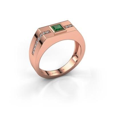 Foto van Heren ring Robertus 2 375 rosé goud smaragd 4 mm