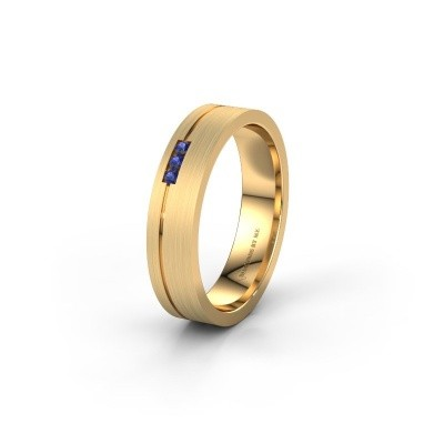 Trouwring WH0156L14X 585 goud saffier ±4x1.4 mm