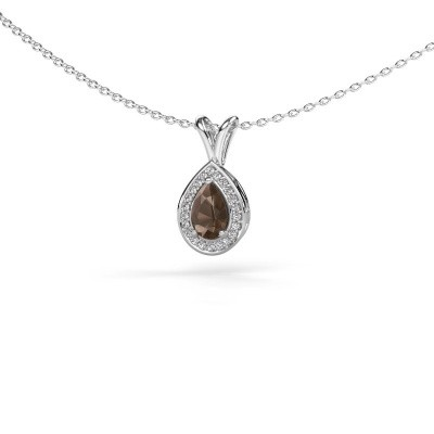 Picture of Necklace Ginger 585 white gold smokey quartz 6x4 mm