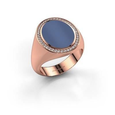 Foto van Zegelring Adam 4 585 rosé goud blauw lagensteen 14x11 mm
