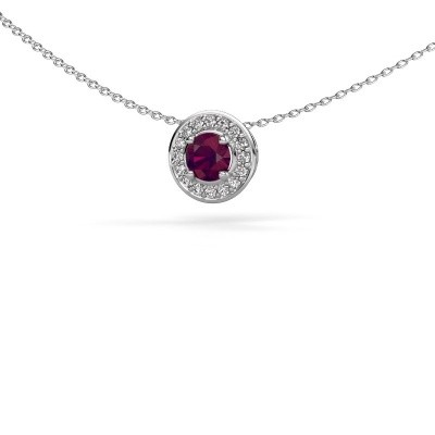 Picture of Pendant Agaat 585 white gold rhodolite 5 mm